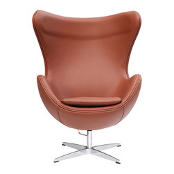 Lemoderno - Egg Chair In Leather by Lemoderno, Light Brown Leather - This wonderful chair features a molded fiberglass frame, fire retardant polyurethane foam padding, and covered with 100% Italian leather. This item is a high quality reproduction of the original.