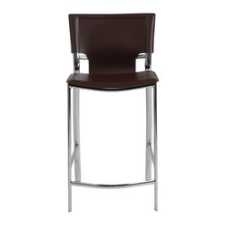 Eurostyle - Vinnie-C Counter Chair (Set Of 2)-Brn - This time be ready when guests start gathering in the kitchen. These chic chairs will look great clustered around your kitchen counter. The bonded leather back and handy footrest make the chairs comfortable for when everyone's feet get tired.