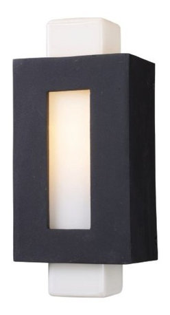 "ELK Lighting - Sundborn Outdoor Wall Sconce by ELK Lighting - Influenced from the minimalist, angular designs of Sweden, the ELK Lighting Sundborn Outdoor Wall Sconce utilizes simple forms to create ""out of the box"" style. A solid cast aluminum frame surrounds an opal White glass column, providing a sleek contrast between colors and material. Founded in Eastern Pennsylvania in 1983, ELK Lighting designs and delivers ""Lighting for Distinctive Homes."" As such, the exclusive line of ELK Lighting products has extraordinary designer appeal matched by an emphasis on value and craftsmanship."