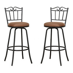 Adarn Inc. - Set of 2 Unique Support Design Light Brown Cushion Swivel Bar Counter Pub Stools - Share a glass of wine or a cup of tea, whatever your choice over this Euro-style dining set for two. Framed in a curvy black vine design, it features swivel bar stools with light brown seat cushions and a cream stone finished round table.