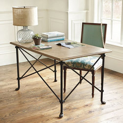 """Directoire Desk - The """"X"""" details on this industrial-style desk are attractive."""