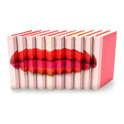 Image Collection - Lips - Set of 10 - You can, indeed, judge a book by its cover. A visually striking set of decorative tomes, the Lips Books - Color - Set of 10 make an impressive graphic statement when placed upon a shelf in an eclectic great room, a window ledge in a home office, a fireplace mantel embellished with objects d'art, or glass-fronted armoire in a personal library.