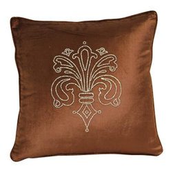 VIG - Modrest Brown Elegant Faux Crystal Throw Pillow - Modrest Brown Elegant Faux Crystal Throw Pillow