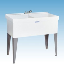 Mustee 27F Double Basin Floor Mount Utility Sink - The Mustee 27F Double Basin Floor Mount Utility Sink lets you soak, hand-wash, dye, and dry entire loads without worry about spilling a drop. Each of the massive 13-inch deep tubs features a 19-gallon capacity and had a one-piece molded construction (with an integrated drain/stopper) that prevents leakage. Mold- and mildew-resistant Durastone (a blend of fiberglass, resin, and stone) is used to create the piece, which is supported by heavy-gauge steel legs. Unit is fitted for 4- or 8-inch center drain (not included).About Trumbull IndustriesFounded in 1922 as a single branch plumbing supply house, Trumball Industries has evolved over the years in to a privately held corporation and full-line distributor with specialized divisions. With 6 branch locations, Trumball Industries has several divisions: an Industrial Division that provides products and services to industrial manufacturers, a Home Center Division that offers expertise in all major kitchen and bath products, a Municipal Division that offers a full line of water and sewer products, and a Master Distribution Center with 500,000 square feet housing over 80,000 products. Aside from providing quality services to their customers, the people at Trumbull Industries are happy provide a tour of any of their facilities as well as assist you with any design, layout, or purchasing decisions.