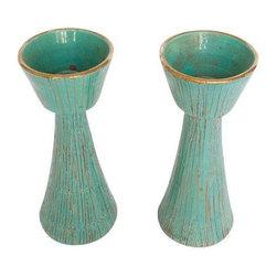 Vintage Italian Pottery Candlesticks - Pair - $300 Est. Retail - $150 on Chairis -