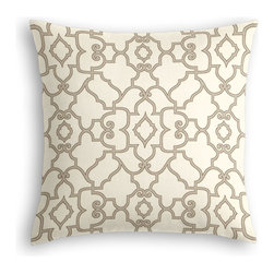Warm Gray Scroll Trellis Custom Throw Pillow - The every-style accent pillow: this Simple Throw Pillow works in any space.  Perfectly cut to be extra fluffy, you'll not only love admiring it from afar but snuggling up to it too!  We love it in this chic morrocan style trellis with intricate outlined scrolls of warm gray on ivory cotton.
