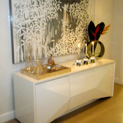 Client Projects - White lacquer buffet in a client's home.