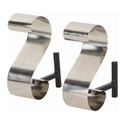 Arteriors - Arteriors 4217 Gil Andirons, Set of 2 - Arteriors 4217 Gil Andirons, Set of 2 made with Polished Nickel/Black Iron.