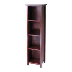 Winsome - 5-Tier Milan Storage Shelf or Bookcase - This spacious shelf is ideal for displaying your treasure or storage your books. Simple and elegant design is a perfect additional to any home. Add baskets to create a new function and look for the shelf. Made of combination of solid and composite wood in Walnut Finish. Assembly Required