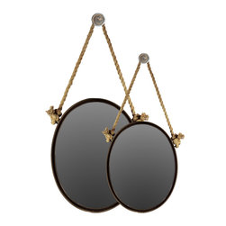 Metal Mirror Oval w/ Knotted Rope Hanger - Set of 2 - Black - *Metal Mirror Oval with Knotted Rope Hanger Set of Two Black
