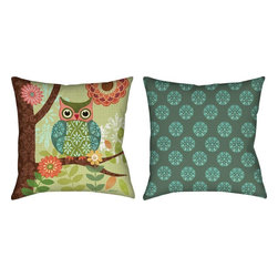 Manual - Forest Owls Reversible Climaweave Indoor / Outdoor Throw Pillow 18 In. - This 18 inch woven tapestry throw pillow adds a wonderful accent to your home. The pillow has a Climaweave weatherproof exterior, that resists both moisture and fading. The front of the pillow features an adorable patchwork style owl in shades of blue, green and orange. The back of the pillow has a blue and green geometric polka dot print. Each of these pillows is crafted with pride in the Blue Ridge Mountains of North Carolina.