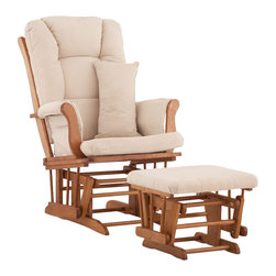 Stork Craft - Stork Craft Tuscany Glider and Ottoman with Free Lumbar Pillow in Oak with Beige - Stork Craft - Rocking Chairs Rockers - 0655451L - Available in 6 wood finishes and 4 fabric combinations to create your own custom Tuscany Glider & Ottoman. The Stork Craft Tuscany Glider and Ottoman set offers gentle motion while feeding your baby in those early morning hours. Featuring a solid construction with a magical sleigh design, this is a royal centerpiece for your nursery. The enclosed metal ball-bearings allow for an incredibly smooth motion to glide your baby back to sleep. Micro fiber spot-cleanable cushions ease the worry about spills, while the construction offers an exquisite finish you'll appreciate far beyond the baby years. The Tuscany Glider comes with a matching soft, plush lumbar support pillow for supporting your baby during feeding times.