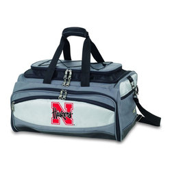 "Picnic Time - University of Nebraska Buccaneer Cooler And Barbecue Set - The Buccaneer is a Picnic Time original design and the ultimate tailgating cooler and barbecue set in one! Don't be fooled by other similar looking items on the market. Only Picnic Time's Buccaneer features a PVC cooler that conveniently nests inside the compartment that houses the portable BBQ. The tote can carry the BBQ and a fully-loaded cooler at the same time! This patented, innovative design features a large insulated and fully-removable, water-resistant cooler that measures 16 x 8 x 7"" and holds up to 24 12-oz soda cans. Unzip the cooler from the main tote to access the portable charcoal barbecue grill that's included. The cooler has two carry straps on either side, and features a mesh pocket on the interior lid that fits a large ice pack/gel pack. The Buccaneer also features an adjustable shoulder strap with comfort pad, a reinforced waterproof base, three large zippered exterior pockets to store personal effects, padded carry handles, and a stretch cargo cord on the top of the tote to carry a blanket or towel. Included in the tote are: 1 portable charcoal BBQ grill with lid (16.7 x 10.8 x 5.1""), one black drawstring bag to hold the grill, and three stainless steel tools with aluminum handles and non-slip thumb grips: 1 large spatula featuring a built-in bottle opener, grill scraper, and serrated edge for cutting, 1 pair of tongs, and 1 BBQ fork. Don't be caught without the Buccaneer at your next tailgating party!; College Name: University of Nebraska; Mascot: Cornhuskers; Decoration: Digital Print; Includes: 1 BBQ grill with lid 1 Large spatula with serrated edge 1 Pair tongs 1 BBQ fork 1 Removable, insulated cooler tote"