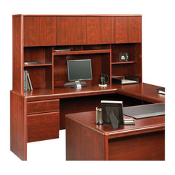 Sauder - Sauder Cornerstone Hutch for Desk and Return in Classic Cherry - Sauder - Hutch - 404999 - Sure lots of office and home furnishing manufacturers can help you create an organized comfortable and fashionable place to live. But Sauder provides a special kind of furniture that is practical and affordable as well as attractive and enduring. As North America's leading producer of ready-to-assemble furniture we offer more than 500 items that have won national design awards and generated thousands of letters of gratitude from satisfied consumers.