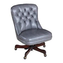 "Hooker Furniture - Tufted Executive Swivel Tilt Chair - Empyrean Ash Leather - White glove, in-home delivery!  For this item, additional shipping fee will apply.  Developed by one of America's premier manufacturers to offer quality furniture at affordable prices.  Each piece is meticulously hand-crafted using the most exquisite fabrics in the world.  The Tufted Executive Swivel Tilt Chair is available in Larkin Dove (Sage Green) fabric, Empyrean Tweed (Light Brown) leather, or Empyrean Ash (Medium Gray) leather.  Frame Construction- Kiln dried, laminated, and select hardwoods that are precision machined for fluid and consistent shape.  Larkin Dove Fabric Contents: 60% Polyester, 40% Linen.  Clean water-based stains with water-based cleaning agent and oil-based stains with solvents.  Leg Finish: Dark Walnut.  Inside Dimensions: 24"" w x 19"" d  Seat Height adjusts: 18 1/2"" h to 20 1/4"" h  Padding- Pattern cut urethane foam that is padded with felt polyester fibers, assuring the important qualities of comfort, loft, resilience, and good recovery.  Seat- A high resilient, high density foam core wrapped with virgin polyester fibers, assuring luxurious comfort and pleasing crown appearance.  This is then covered with a special ticking for pillow soft comfort.  Seat Back- Filled with precision cut foam and highly resilient polyester fibers or filled with 100% virgin polyester fibers enclosed in a special ticking for pillow soft comfort.  The color of fabric and leather may vary from that shown on screen."