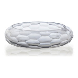 Ice Faceted Etched/Polished Glass Bowl - Even a few stray fillers placed in the Ice Faceted Glass Bowl create a meditative vignette which is then perfect to form a low centerpiece for a round dining table or a horizontal element on a console. Crafted with alternating etched and polished facets to enhance its dimensional geometry, the clear glass bowl is dramatically low and wide and finished with an artful hand to complete the shape.
