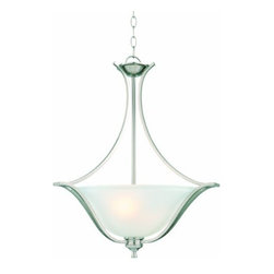 DHI-Corp - Ironwood 2-Light Energy Star Pendant, Satin Nickel - The Design House 515577 Ironwood 2-Light Energy Star Pendant is made of formed steel, snow glass and has a satin nickel finish. This pendant's versatile design is applicable for high or low ceilings. As a laid-back alternative to a chandelier, this fixture maintains a sophisticated appeal while delivering indirect light with a pleasing aesthetic. Energy Star qualified, this 2-light pendant is rated for 120-volts and uses (2) 13-watt GU24 compact fluorescent lamp. Measuring 25-inches (H) by 21-inches (W), this 7.09-pound fixture comes with a 48-inch chain to extend from high ceilings. Bold steel accentuates the soft glass to create an elegant centerpiece in a kitchen, hallway or entryway. Energy Star products meet strict energy efficiency guidelines set by the U.S. Environmental Protection Agency and the U.S. Department of Energy to maintain a greener home. This product is UL, CUL listed and UL approved for damp areas. The Ironwood collection features a beautiful matching wall mount, ceiling mount, chandelier and vanity. The Design House 515577 Ironwood 2-Light Energy Star Pendant comes with a 2-year limited warranty that protects against defects in materials and workmanship. Design House offers products in multiple home decor categories including lighting, ceiling fans, hardware and plumbing products. With years of hands-on experience, Design House understands every aspect of the home decor industry, and devotes itself to providing quality products across the home decor spectrum. Providing value to their customers, Design House uses industry leading merchandising solutions and innovative programs. Design House is committed to providing high quality products for your home improvement projects.