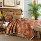 Tommy Bahama - Tommy Bahama Orange Cay Quilt - Turn your bedroom into a laid-back island getaway with the Tommy Bahama Orange Cay quilt. An elegant palm motif is printed on rich, warm tones of terracotta, cocoa brown, sepia, and ivory to give your room a casual, beachy charm.