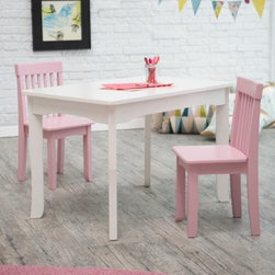 Lipper Mystic Table and Chair Set - Pink - For a seating area that's all their own give them the Lipper Mystic Table and Chair Set - Pink. This table and two chair set is perfect for little ones who like to draw write color or do anything else creative. Crafted of super-sturdy wood and engineered wood this classic set is finished in pretty pink and crisp white making it a beautiful addition to any playroom. After they've completed their masterpieces simply clean the table with a damp cloth and mild soap and water. This set is sure to be a favorite for years to come. About Lipper InternationalLipper International provides exceptionally valued kitchen home & office organizers including the Soho Spice Collection; single-serve coffee pod organizers; kitchen pantryware cutting boards and tools; serving & entertaining accessories; and children's furniture and toy chests. Lipper uses the finest quality materials including stainless steel bamboo acacia wood chrome- and powder-coated metals and other fine-quality hardwoods. Known for product functionality as well as beauty and quality craftsmanship Lipper International combines quality style service and price into every product and collection it offers.