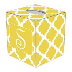 Marye Kelley - Chelsea Grande Yellow Personalized Tissue Box Cover - The Chelsea Grande tissue box cover's custom design exudes modern glam. Featuring silver trim, this personalized monogram accessory's mod Moroccan tile print excites in yellow and white hues. Available in papier mache, tin and wood; Choose font style; Enter initial, name or monogram exactly as it should appear; Made in the USA