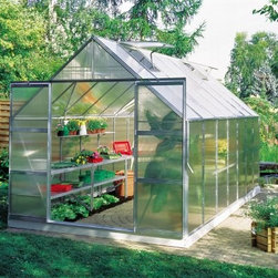 Halls Magnum 8 x 14-Foot Greenhouse Kit - Additional Features Double doors make it easy to bring in larger items Superb twin wall has double the heat retention of glass Diffuses the light to prevent your plants being burned Lightweight and virtually unbreakable 6mm thick double-walled panels Includes aluminum or plastic strips to attach to the ends Strips prevent objects getting stuck between the layers UV resistant coating protects your plants Greenhouse kit includes a steel base Door measures 48W x 71H inches Sidewall measures 4.5 feet Peak height measures 8 feet Measures 8W x 14L x 8H feet Enjoy having bright flowers and green plants all year round with The Halls Magnum 8 x 14-foot Greenhouse Kit. Complete with a base the Magnum Greenhouse has all the best features available a great greenhouse. This greenhouse features cast joints and additional struts at the eaves and ridge to give this greenhouse extra strength. An additional six inches was added to the ridge and eaves to not only increase headroom but also to make room for hanging plants. To make sure your plants are protected and won't burn this greenhouse is made with strong and durable polycarbonate glazing to diffuse the light and has a UV resistant coating. The superb 4mm thick doubled-panel twin walls have twice the heat retention of glass and include aluminum or plastic strips to prevent foreign objects from getting stuck in between the panes. The greenhouse has four roof vents for increased circulation and double doors that make it easy to bring in a wheelbarrow or wheelchair. Assembly is a weekend project for one or two people. About The Greenhouse Connection LLCThe Greenhouse Connections was established in 1993 to connect gardeners who are looking for a well-made traditional English greenhouse with Halls Garden Products Ltd. of England the world's leading manufacturer of hobby greenhouses. By networking with a variety of people and companies including independent garden centers nurseries mail-order garden and seed catalogs and greenhouse supply companies The Greenhouse Connection does just that. Their offices are located in Grant Pass OR.