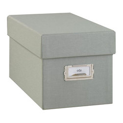 "Resource International Inc. - Margo CD Box - Overview Our exclusive Margo CD box organizes and protects your valuable photo memories beautifully. Exposures has been designing museum-quality photo storage for 20 years. Perfect for safekeeping important and precious items.  Features Bookcloth covering Standard nickel label holder Digital CD box holds approximately 100 CDs  Fabric dye lots vary between shipments from our supplier, which may result in slightly varying colors when pieces are ordered separately.  When filling a piece of our storage furniture with boxes of the same color, we recommend you order all the pieces at one time to ensure color consistency. Specifications Digital CD Box measures 6""H x 6-1/2""W x 11-1/2""D."
