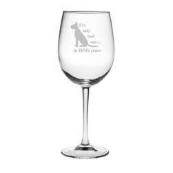 Susquehanna Glass - Dog Years All Purpose Wine Glass, 19oz, S/4 - Each 19 ounce wine glass is sand etched with a playful dog-themed design. Dishwasher safe. Sold as a set of four. Made and decorated in the USA.