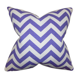 """The Pillow Collection - Falkner Chevron Pillow Purple - Add texture and dimension to your home with this fun accent pillow. This throw pillow highlights a chevron pattern in shades of purple and white. This cushion is the answer to all your styling needs. Toss this 18"""" pillow to your sofa, bed or seat. Mix and match with other patterns from our pillow collection. Made of 100% soft cotton fabric."""