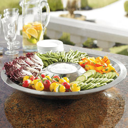 Frontgate - Super Chill Appetizer Tray - Double-walled 18/8 stainless steel provides maximum cold retention. Gel-based inner layer freezes like ice and holds its temperature. Won't leave messy water rings on tabletops or fine furnishings. Condiment Server comes with clear plastic lids. 4-Quart bowls include black silicone lids. Our Super Chill Insulated Servers are prized for their polished presence and superb temperature regulating abilities at your buffet table. Designed to keep foods perfectly chilled for several hours without ice or condensation, the gleaming, seamless serveware is ideal for summer socials staged outdoors or indoors..  . . . . Place in a freezer prior to use. Outdoor or indoor use. Hand wash (view instructions).