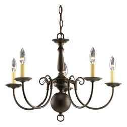 Progress Lighting - Progress Lighting P4346-20 Five-Light Chandelier With Ivory Finish Candle Sleeve - Five-light chandelier in the timeless Americana collection with delicate arms, decorative center column.
