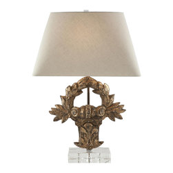 Aidan Gray - Aidan Gray Veneto Lamp L185 - A hand carved wooden crest with a Distressed Gold finish sits atop a thick acrylic base in the Veneto Lamp.