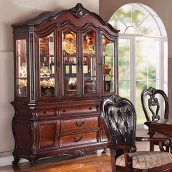 "Acme Furniture - Dorothea Hutch and Buffet in Cherry - Dorothea Hutch and Buffet in Cherry; Dimensions: 70""x19""x94""H"