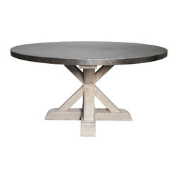 NOIR - NOIR Furniture - Zinc Top Round Table with Wooden X Base in Vintage - Featuring natural, simple and classic designs, Noir products supply a timeless complement to a variety of interiors. Once an element of ancient Roman weaponry, lustrous zinc now finds a unique modern use as the round top of this table. Set on a sturdy pine wood base with a nostalgic vintage finish, this table will be both the setting and subject of many dining room conversations.