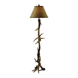 "Crestview - Crestview CVANP950 Trophy Floor Lamp - Trophy Floor Lamp Natural Antler Finish Resin Floor Lamp (8 x 18 x 12"" Faux Leather Shade) 3-way 150w max wattage bulb 66"" Ht."