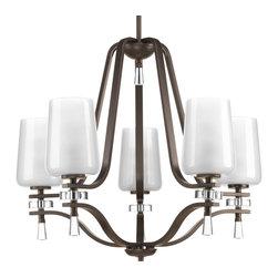 Progress Lighting - Progress Lighting P4089-20 Five-Light Chandelier Clear Outside, Etched Inside Gl - Five-light chandelier