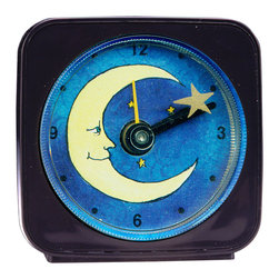 Moon/Star Alarm Clock - Great for kids or adults, our alarm clocks can't help but make you smile. Made from an original painting, each clock is 2.25'' square with a round face. On our smiling Moon Clock the star floats magically around the moon as it counts the seconds. Each alarm clock comes in a gift box and includes a free battery. Made in the USA. (Be sure to look for our moon magnets, too!)