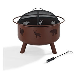 Crosley Furniture - Durango Wildlife Firepit in Clay - Oversized Bowl for Longer and Warmer Fires. 360 View of Fire. Sturdy Steel Construction. Sturdy Legs. Includes Poker to Keep Fire Stoked. Full Coverage Steel Mesh Lid. Assembly Required. 26 in. L X 26 in. W X 22 in. H (28.6 lbs.)Bring a taste of the wilderness to your next outdoor gathering with the Crosley Durango outdoor fire pit.  Finished in a simulated clay, the pit is constructed of powder coated steel and is designed to provide you with seasons of enjoyment. Included are a custom wire mesh spark lid and a fire poker.