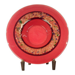 Dale Tiffany - Dale Tiffany Rose Wine Transitional Charger with Stand X-60106GP - From the Rose Wine Collection, this Dale Tiffany charger with stand features beautiful rosy red coloring that compliments the beveled detailing. This transitional charger plate features a single accent circle with shimmering colors in various hues, which highlight the unique look.