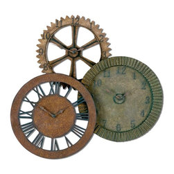 Uttermost - Bronze Gear Wall Clock-35 in. - These  unique  clocks  are  made  of  hand  forged  metal.  They  are  finished  in  a  combination  of  distressed  red  rust,  brown  rust  and  sage  green  rust  with  black  undertones  and  black  details.  If  you  are  looking  for  a  creative  wall  hanging,  there  is  no  need  to  look  any  further.