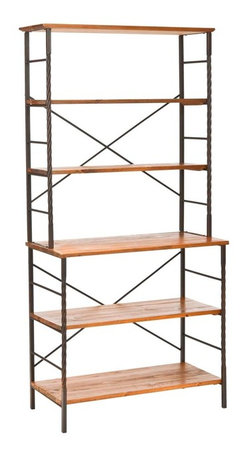 Safavieh - Safavieh Brooke 77 Inch Etagere in Walnut Brown - The Brooke etagere brings soft, modern style to any interior with its industrial chic combination of walnut finished fir wood for open shelves contrasted with antique pewter frame. Perfect for books, dishes or precious objects, it's a design classic. What's included: Etagere (1).