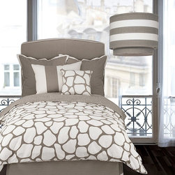 Oilo - Oilo Taupe Cobblestone Duvet Cover - The artsy, large cobblestone shapes on this taupe-colored duvet cover bring a fun, spotted pattern to your bedroom. Playful, charming, adventurous - the pattern creates a youthful and whimsical mood to decorate your bed. Functional appeal also adds to it - the duvet features six-inch ties inside the corners to secure the ends of your comforter insert to minimize it sliding around.Crafted from 100 percent woven cotton sateen300 thread countInsert not included6-inch inner ties for securing insertZippered duvet closureEco-friendly and machine washableBedding, pillows and pendant light all sold separatelyAvailable in twin and full/queen sizesMatches the other Taupe Cobblestone piecesMade in the USA