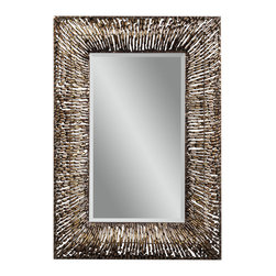 Bassett Mirror - Metal Spirals Rectangle Wall Mirror - Bronze Finish - Rectangle. Measures: 34 in. W x 47 in. H.