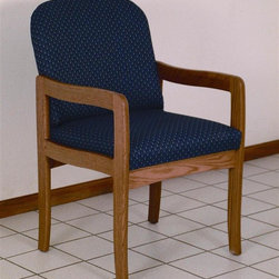 Wooden Mallet - Solid Wood Arm Chair w Medium Oak Finish & So - Fabric: Arch WinePictured in Medium Oak with Blue Arch fabric finish. 1 In. thick solid oak frame. Extra thick seat and back cushions. Full length, fully upholstered, arched backs lend style and comfort. Minimal assembly required. Made in the USA. Complies with California TB 117 fire code. 1-Year limited warranty. Weight capacity: 400 lbs. per seat. 26 in. D x 21.5 in. W x 37 in. H (28 lbs.). Seat dimension: 16.5 in. D x 19.5 in. W x 14.5 in. H. Seat height: 19 in.. Arm height: 25 in.Wooden Mallet's Dakota Wave Prairie series with its full length, fully upholstered back offers graceful styling for sophisticated good looks. This standard leg model is for those who desire a more traditional, elegant look. This chair is constructed of solid oak with a state-of-the-art finish for beauty and durability. Choose from dozens of stain and fabric combinations to customize this chair for any décor or contact us to learn about supplying your own fabric for a personalized look. Choose this chair as part of our complete Dakota Wave collection of coordinating lobby essentials.