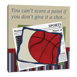 "Doodlefish - Basketball in the News - 18"" x 18"" Gallery Wrapped Giclee Print that is perfect for the basketball fan."