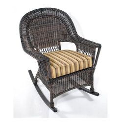 Trade Wind Treasures - Lake Living 21 in. Treasures Rocker - Includes standard outdoor seat cushion. Welded aluminum frame. Covered in hand woven UV protected extruded vinyl. Optional back cushion available. Seat size: 21 in. W x 20 in. H. Weight: 32 lbs.. Warranty