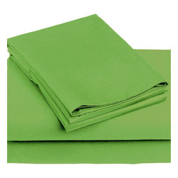 Store51 LLC - 3pc Palm Green Solid Color Bedding Twin-Single Sheet Set - FEATURES: