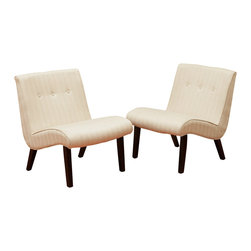 Oksana Fabric Slipper Chairs (Set of 2), Beige - The Oksana Slipper Chairs make perfect accent chairs for any room in your home. With their low and curved design, this chair will invite you and your guests with no cost to their aesthetic appeal. Gathered tufting along the back of the chair, gives detail to the overall piece, making each of these chairs a true statement for your home.