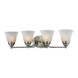 Z-Lite - Z-Lite 2110-4V Athena 4 Light Bathroom Vanity Light in Brushed Nickel - Brushed Nickel finish and white swirl shades bring a stylish flare to this four light vanity lamp making it a must-have for any modern room.