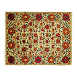 Manhattan Rugs - New Floral Suzani 8' X 10' Super Fine Hand Knotted Ivory Wool Area Rug MC118 - This is a true hand knotted oriental rug. it is not hand tufted with backing, not hooked or machine made. our entire inventory is made of hand knotted rugs. (all we do is hand knotted)
