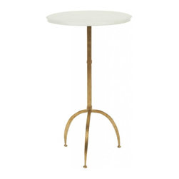 Safavieh - Myrna Accent Table - Contemporary and petite, the Myrna accent table offers eye-catching contrast with cool white marble top and antique gold-finish base with three gently curved legs.
